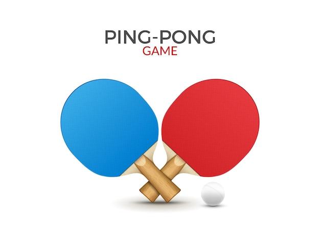 Ракетки для настольного тенниса. пинг-понг теннисный игровой инвентарь мяч вектор