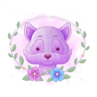 水彩画の背景を持つ花のフレームとアライグマの漫画