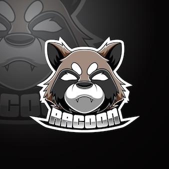 Racoon esportマスコットロゴデザイン