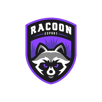 Racoon mascot esport gaming logo illustration