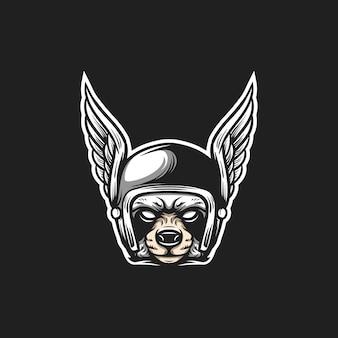 Racoon rider head illustration