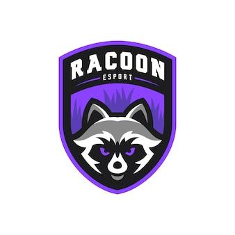 Racoon талисман киберспорт игры логотип иллюстрации