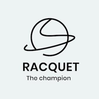 Modello di logo della racchetta, grafica aziendale del club sportivo in un vettore di design minimale