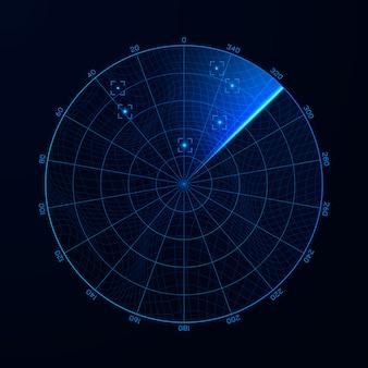 検索中のレーダー。軍事検索システムの概要図。ブリップをターゲットにします。青いナビゲーションインターフェイス。ベクター