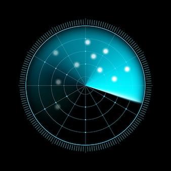 暗い背景に分離されたレーダー
