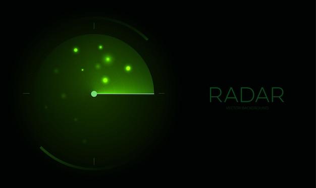 暗い背景にレーダースクリーンハッドディスプレイレーダーインターフェース