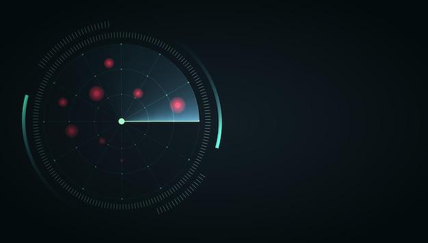 Экран радара hud отображает векторный интерфейс радара на темном фоне