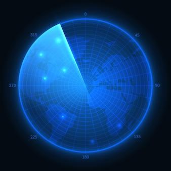 レーダー画面。ミリタリーブルーソナー。ナビゲーションインターフェイスのベクトルマップ。ナビゲーションモニター、軍用デジタル機器のイラスト
