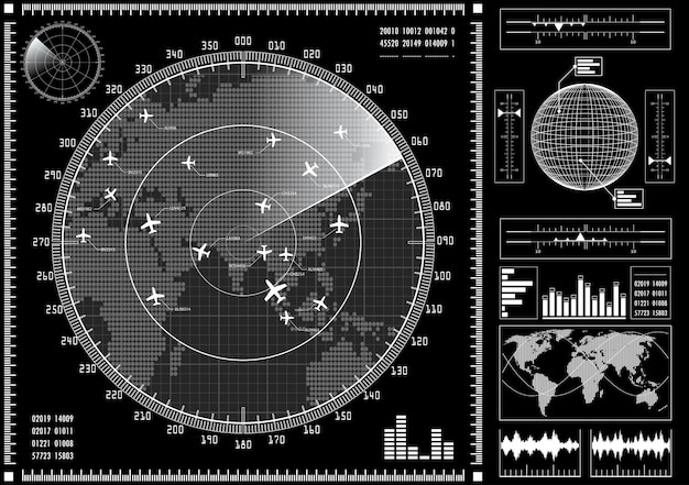 Radar screen with futuristic user interface hud.