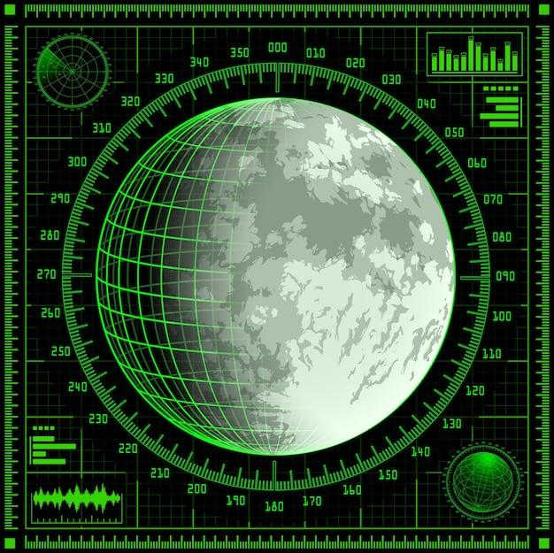 Radar screen with moon