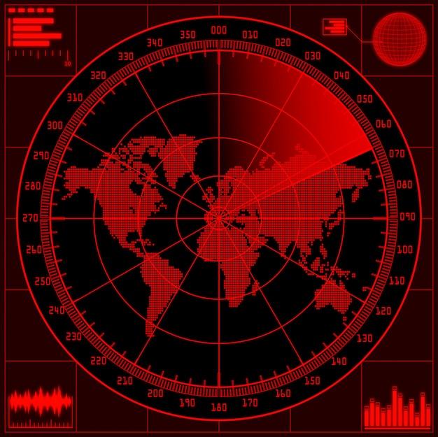 世界地図とレーダースクリーン