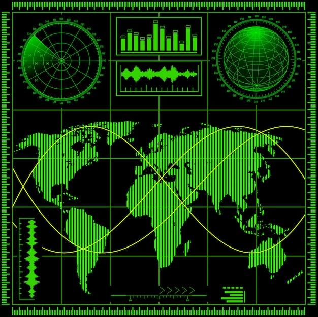 Radar screen with world map