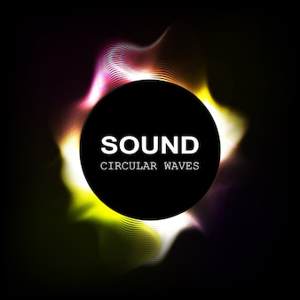 Radial colour sound waves isolated on darck background