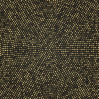 Radial golden halftone patterh, gold luxury  background
