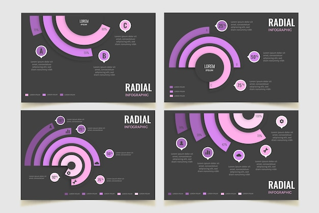 Радиальная инфографическая коллекция