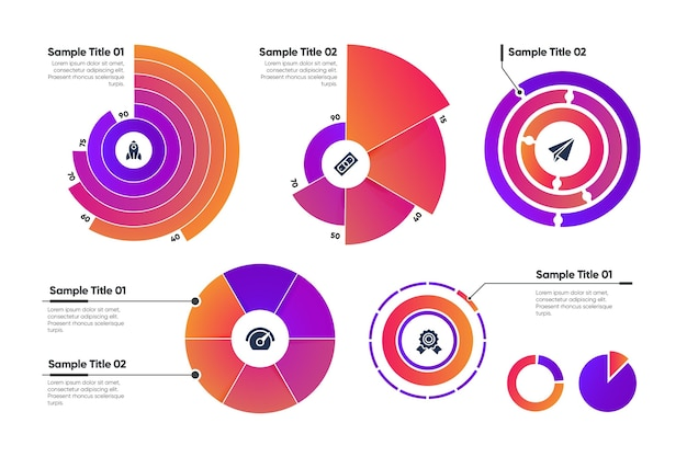 Radial infographic template collection