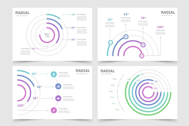Radial infographic template pack