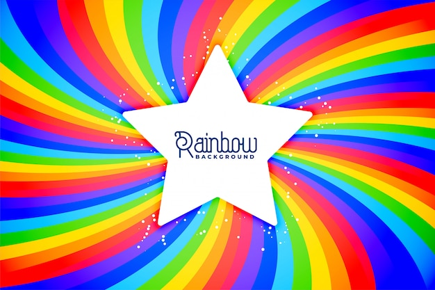 Radial rainbow swirl background with star