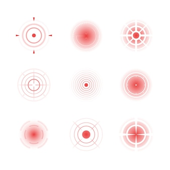 Radial red shapes. migraine aiming bones painful target concentric pain vector abstract rings