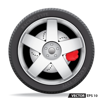 Radial wheel car alloy 3D with tire on white