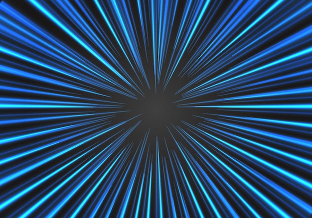Radial zoom speed blue line on black vector illustration background