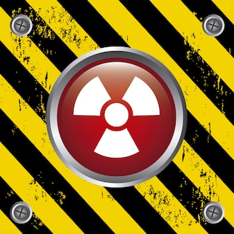 Radiation button over lines background vector illustration