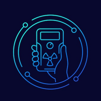 Radiation detector in hand line icon, vector