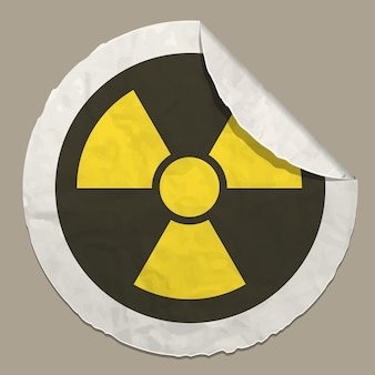 Radiation hazard sign realistic paper sticker with curved edge