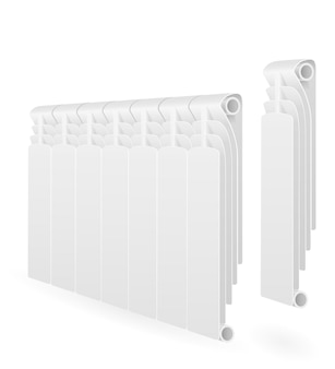 Radiator heating space with hot water on white