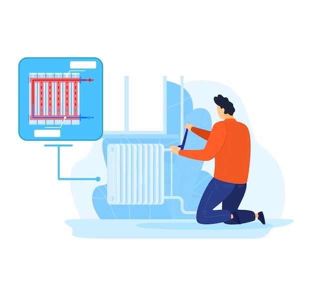 Радиатор в доме, домашний ремонт иллюстрацией профессионального мастера. служба рабочего человека на строительстве, мультипликационный рабочий с инструментом. профессия мастера по отоплению помещений, мастер по внутренней отделке.