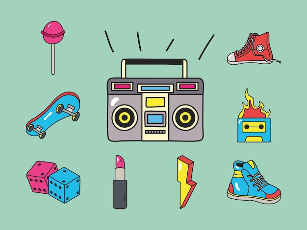 Radio and 90s patches icons set