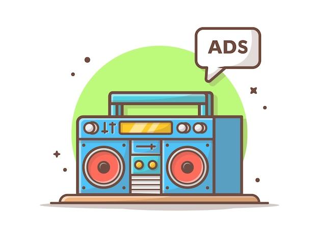 ラジオ広告ベクトルアイコンイラスト。ラジカセと広告サイン、ラジオアイコンコンセプト