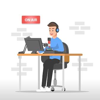 Radio announcer illustration