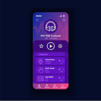 Radio appliation night smartphone interface vector template. mobile app page design layout. listen to music online screen. podcast and news broadcasting. flat ui for application. phone display