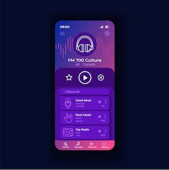 Шаблон вектора интерфейса смартфона ночи приложения радио. макет страницы мобильного приложения. слушайте музыку онлайн на экране. подкасты и новостные трансляции. плоский интерфейс для приложения. дисплей телефона