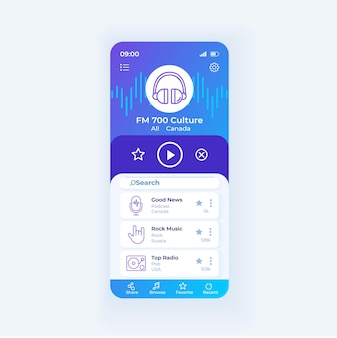 Radio application smartphone interface vector template. mobile app page design layout. radio broadcast online screen. download fm application. flat ui for application. phone display