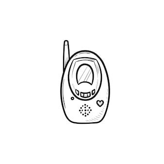 ラジオベビーモニター手描きアウトライン落書きアイコン。赤ちゃんの安全と子供の安全、送信機のコンセプト