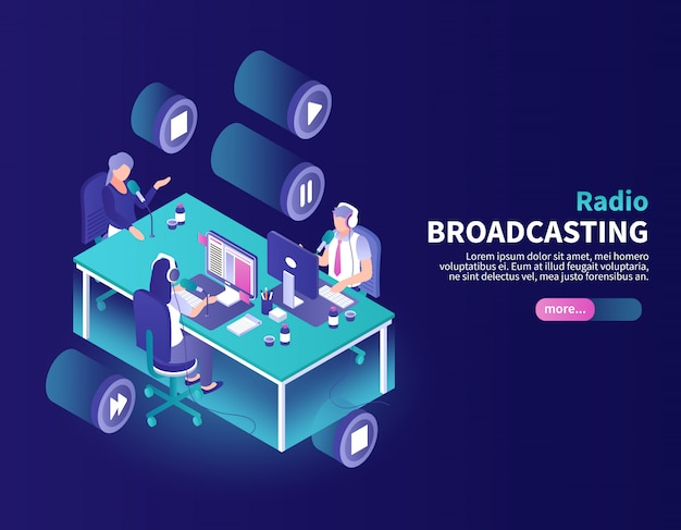 Radio broadcasting color  with announcer and newscasters at working place isometric