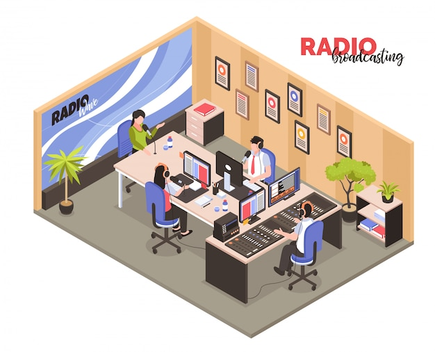 Radio broadcasting isometric  with employees in work interior participated in recording of radio programs