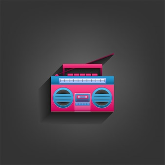 Radio cassette player in paper craft style with blue and pink colors