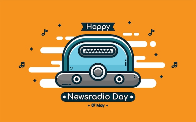 Radio day greeting vector