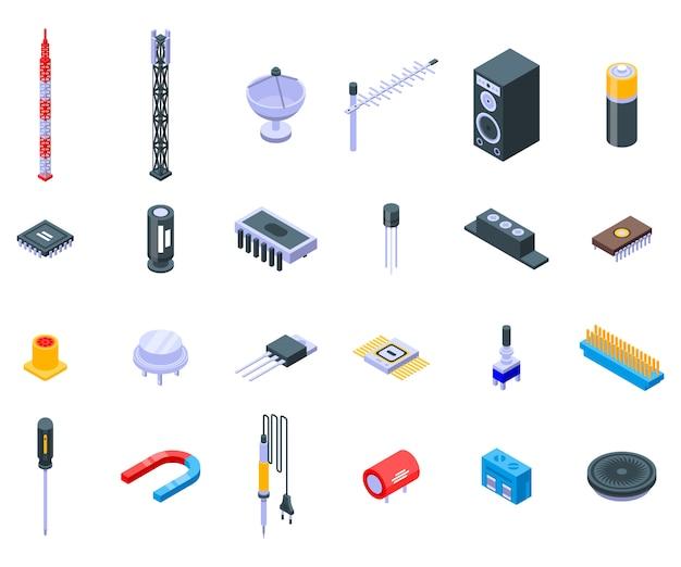 Radio engineer icons set