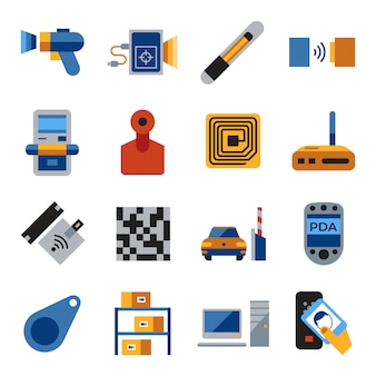 Radio frequency identification chip icons collection