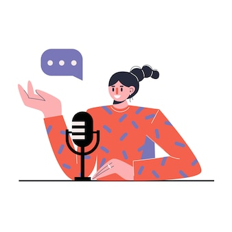 Radio host. media hosting. female podcaster . concept of internet online radio.