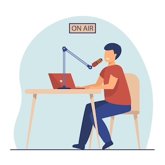 Radio host speaking at microphone at laptop. on air, presenter, blogger. cartoon illustration