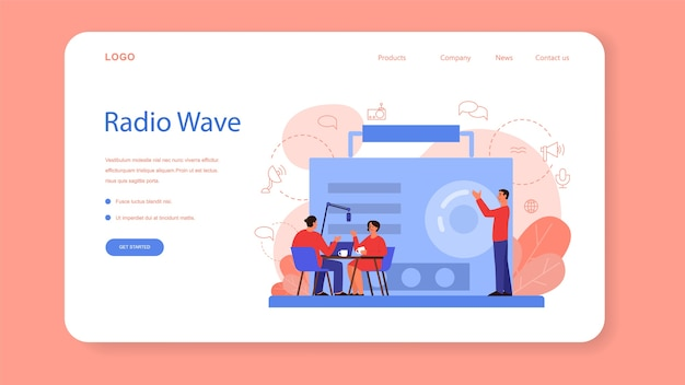 Radio host web landing page. idea of news broadcast in the studio. dj occupation. person talking through the microphone. isolated vector illustration in cartoon style