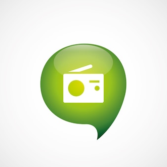 ラジオアイコン緑の思考バブルシンボルロゴ、白い背景で隔離