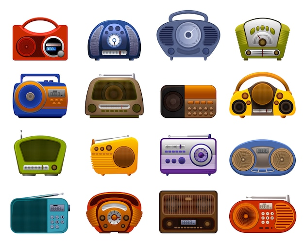 Radio icons set. cartoon set of radio icons