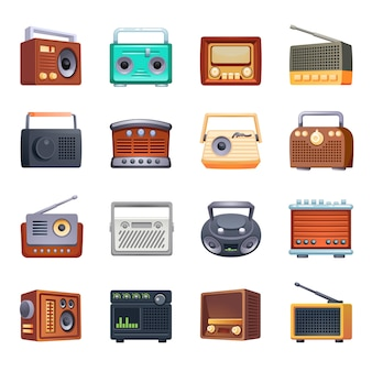 Radio icons set, cartoon style