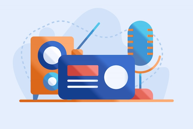 Radio illustration flat